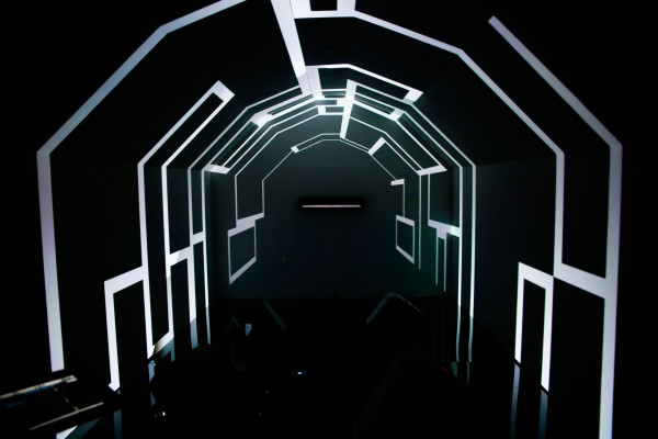 Interactive Installation tucked inside a barn. Wave your hands to Sonos Playbar and the room changes!